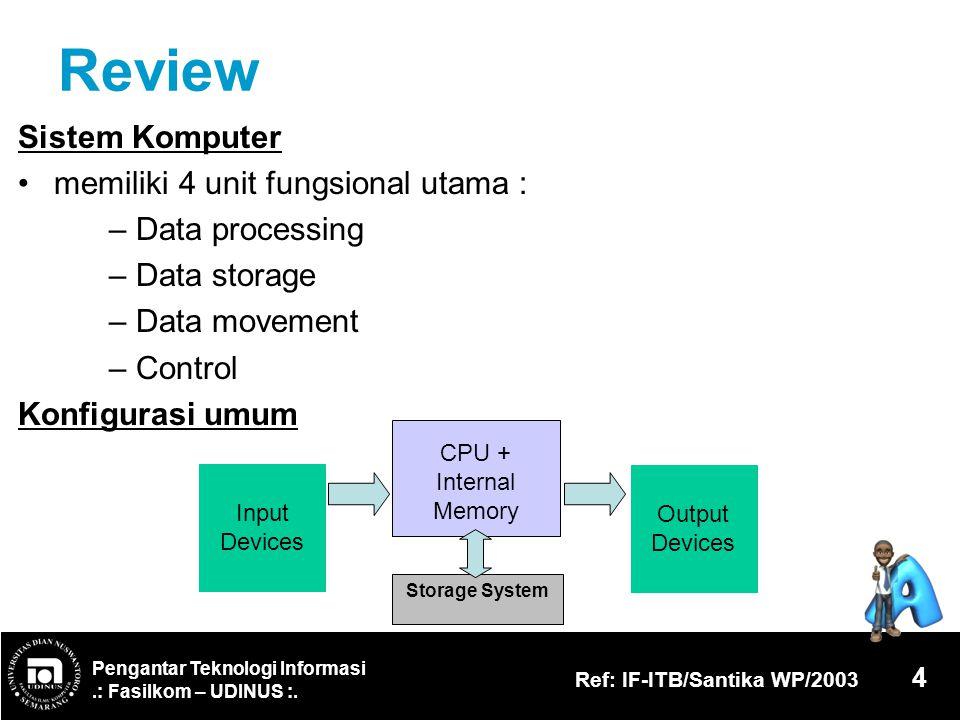 Review Sistem Komputer memiliki 4 unit fungsional utama :