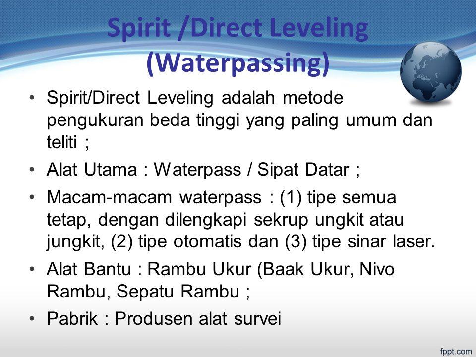 Spirit /Direct Leveling (Waterpassing)