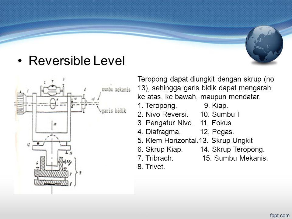 Reversible Level Teropong dapat diungkit dengan skrup (no 13), sehingga garis bidik dapat mengarah ke atas, ke bawah, maupun mendatar.