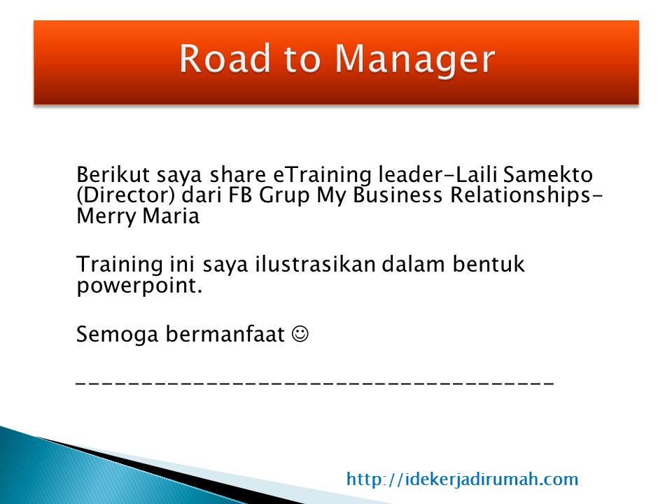 Road to Manager -------------------------------------