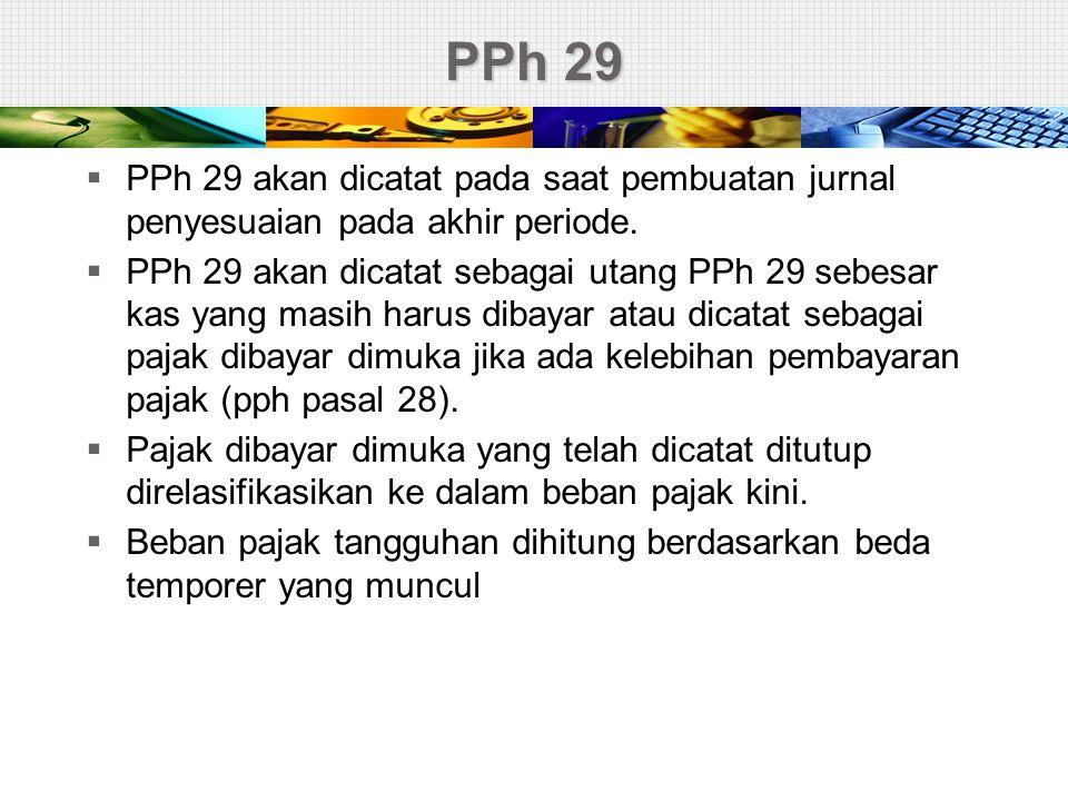 PPh 29 PPh 29 akan dicatat pada saat pembuatan jurnal penyesuaian pada akhir periode.