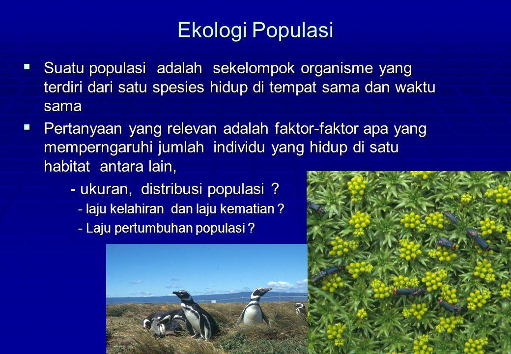 Ekologi Populasi Suatu populasi adalah sekelompok organisme yang terdiri dari satu spesies hidup di tempat sama dan waktu sama.