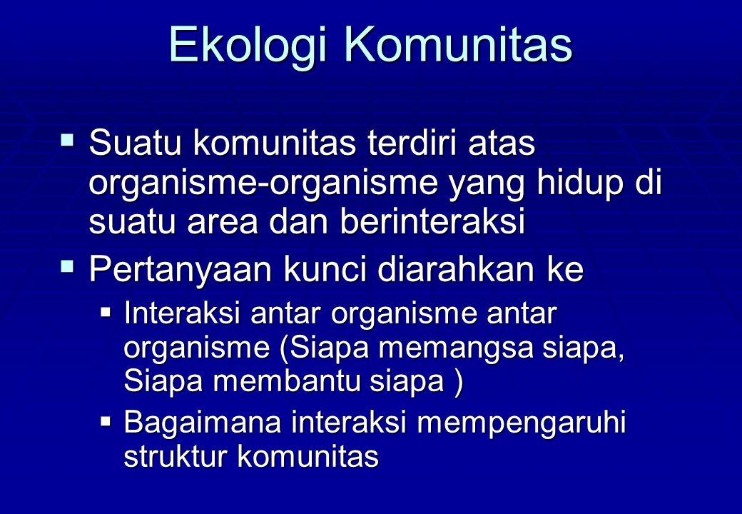 Ekologi Komunitas Suatu komunitas terdiri atas organisme-organisme yang hidup di suatu area dan berinteraksi.