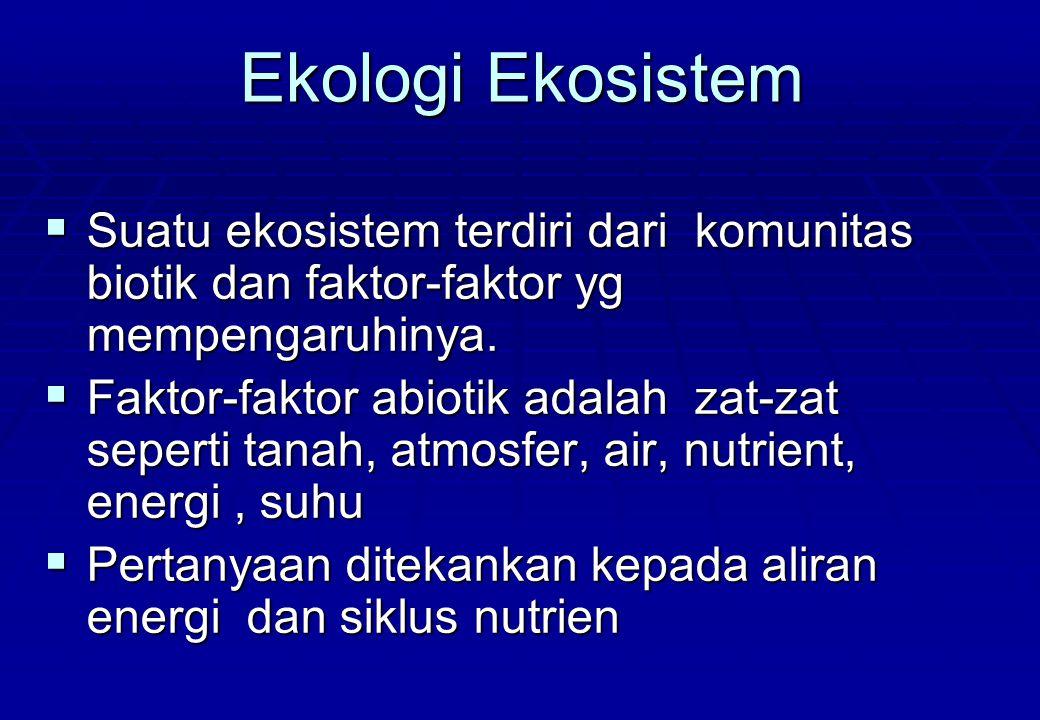 Ekologi Ekosistem Suatu ekosistem terdiri dari komunitas biotik dan faktor-faktor yg mempengaruhinya.