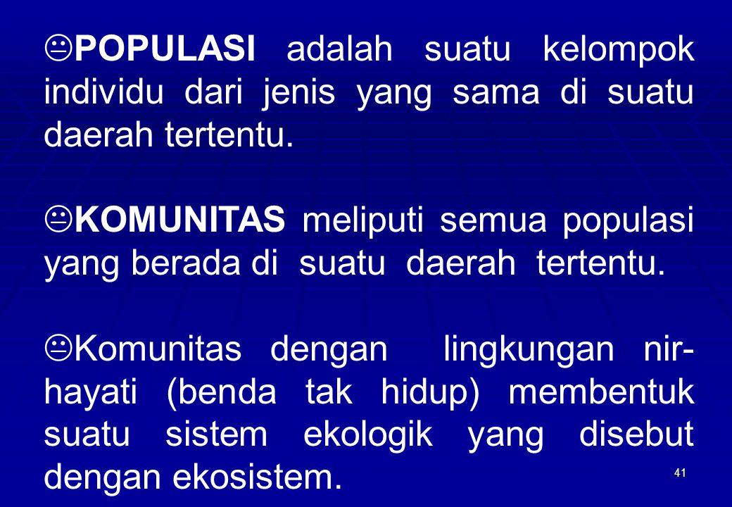 POPULASI adalah suatu kelompok individu dari jenis yang sama di suatu daerah tertentu.