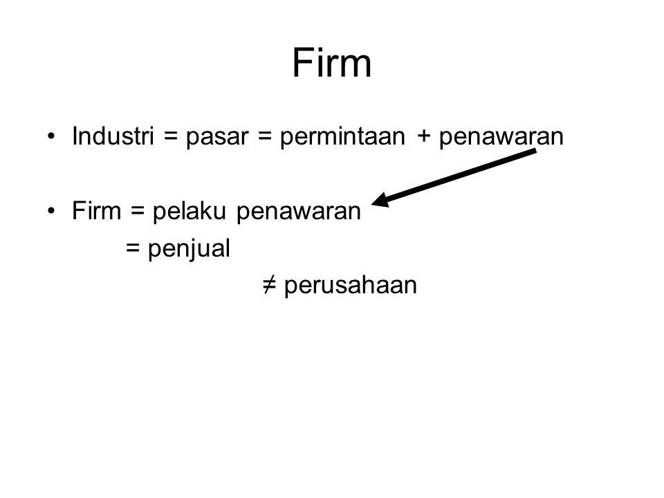 Firm Industri = pasar = permintaan + penawaran Firm = pelaku penawaran