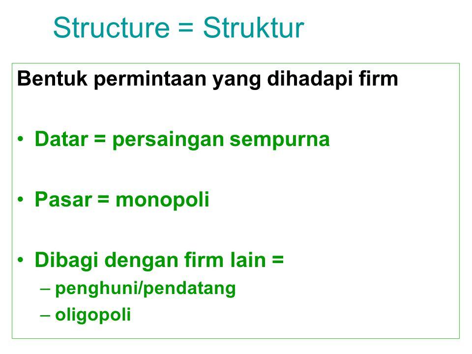 Structure = Struktur Bentuk permintaan yang dihadapi firm