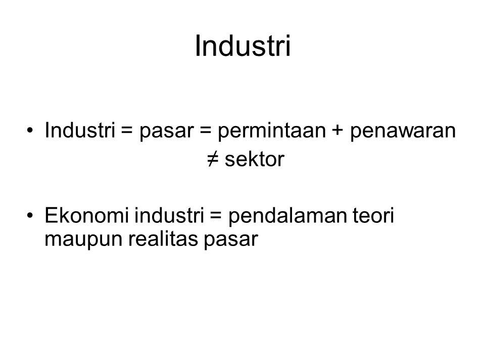 Industri Industri = pasar = permintaan + penawaran ≠ sektor