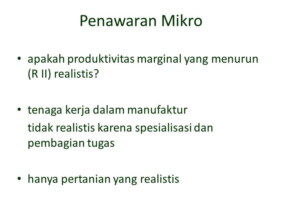 Penawaran Mikro apakah produktivitas marginal yang menurun (R II) realistis tenaga kerja dalam manufaktur.