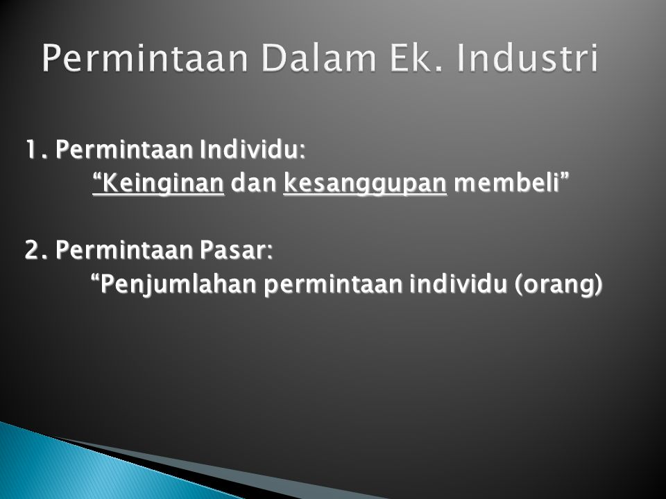 Permintaan Dalam Ek. Industri