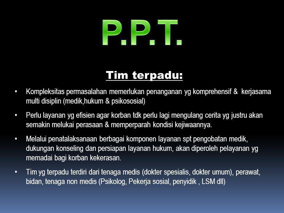 P.P.T. Tim terpadu: Kompleksitas permasalahan memerlukan penanganan yg komprehensif & kerjasama multi disiplin (medik,hukum & psikososial)