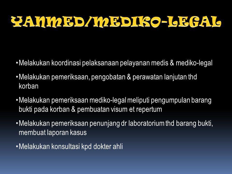 YANMED/MEDIKO-LEGAL Melakukan koordinasi pelaksanaan pelayanan medis & mediko-legal.