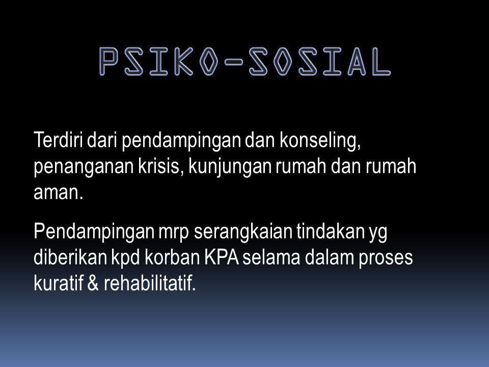 PSIKO-SOSIAL Terdiri dari pendampingan dan konseling, penanganan krisis, kunjungan rumah dan rumah aman.