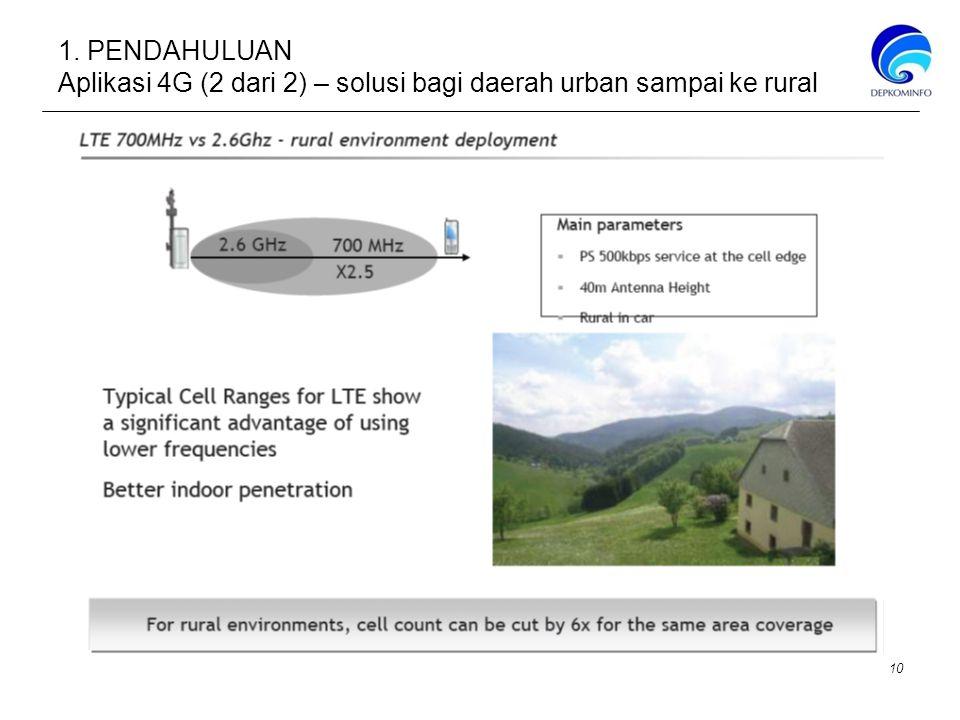 1. PENDAHULUAN Aplikasi 4G (2 dari 2) – solusi bagi daerah urban sampai ke rural