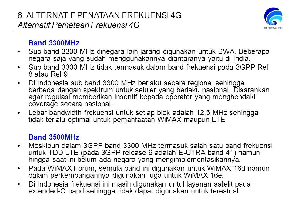 6. ALTERNATIF PENATAAN FREKUENSI 4G Alternatif Pemetaan Frekuensi 4G