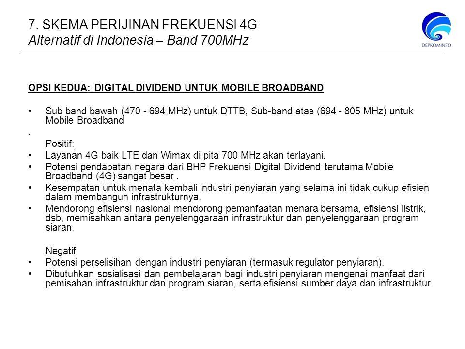 7. SKEMA PERIJINAN FREKUENSI 4G Alternatif di Indonesia – Band 700MHz