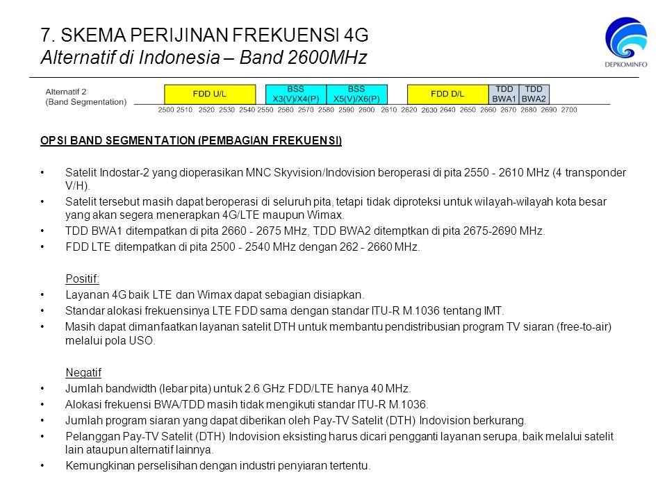 7. SKEMA PERIJINAN FREKUENSI 4G Alternatif di Indonesia – Band 2600MHz
