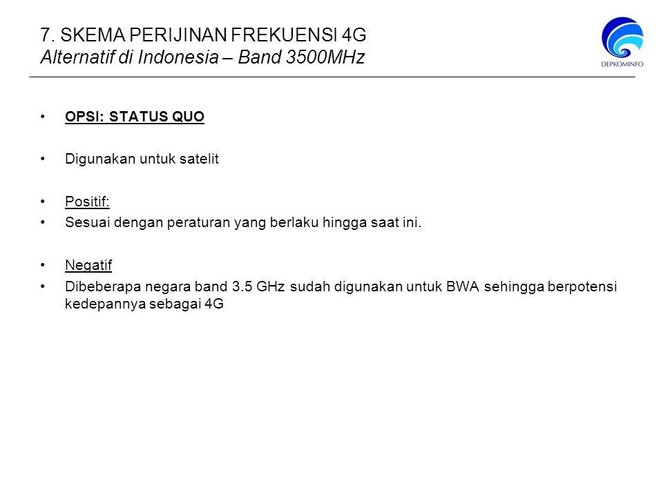 7. SKEMA PERIJINAN FREKUENSI 4G Alternatif di Indonesia – Band 3500MHz
