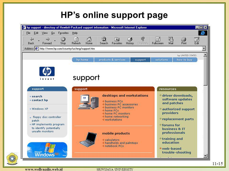 HP's online support page