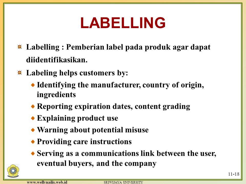 LABELLING Labelling : Pemberian label pada produk agar dapat diidentifikasikan. Labeling helps customers by: