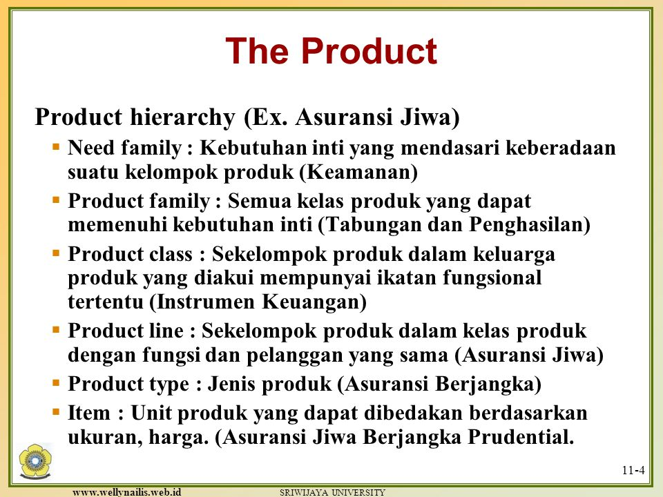 The Product Product hierarchy (Ex. Asuransi Jiwa)