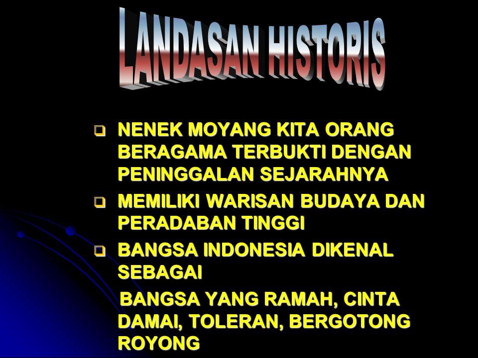 LANDASAN HISTORIS NENEK MOYANG KITA ORANG BERAGAMA TERBUKTI DENGAN PENINGGALAN SEJARAHNYA. MEMILIKI WARISAN BUDAYA DAN PERADABAN TINGGI.