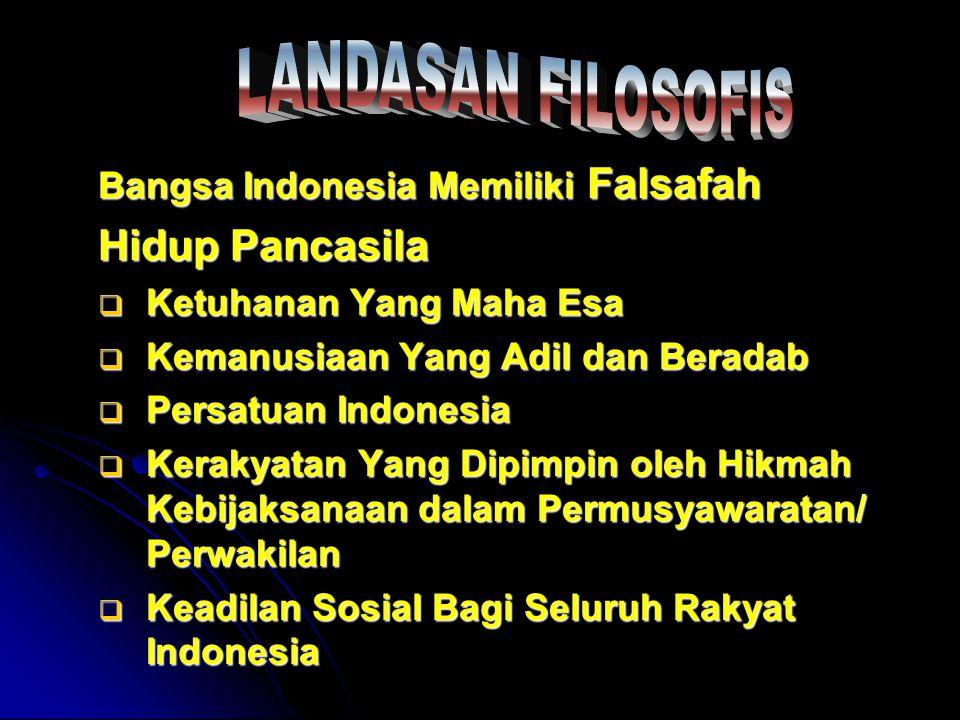 Hidup Pancasila LANDASAN FILOSOFIS Bangsa Indonesia Memiliki Falsafah