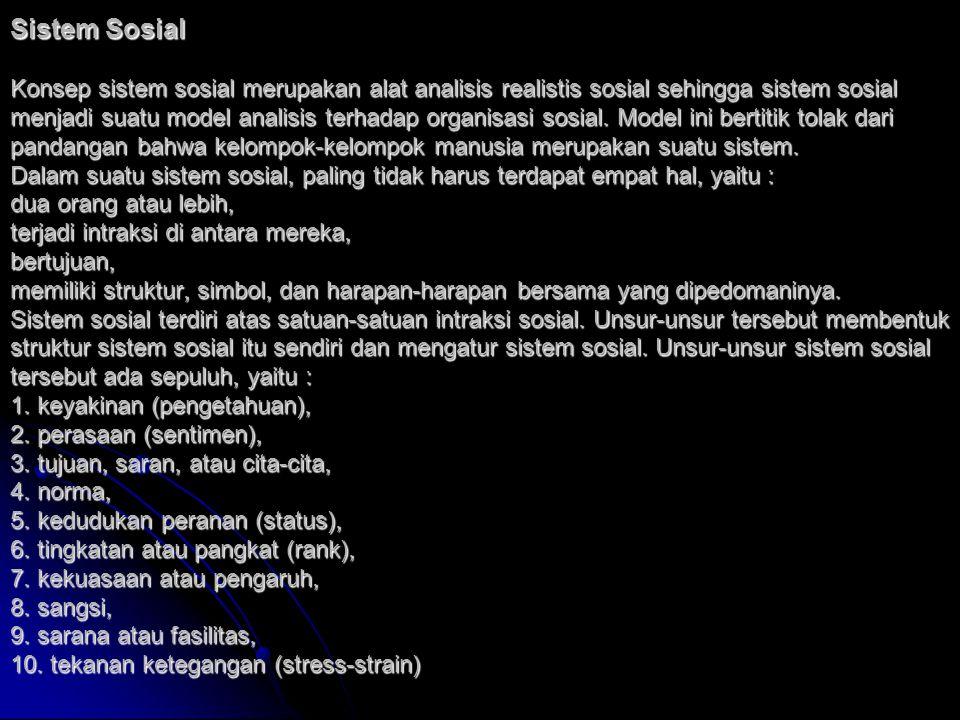 Sistem Sosial Konsep sistem sosial merupakan alat analisis realistis sosial sehingga sistem sosial menjadi suatu model analisis terhadap organisasi sosial.