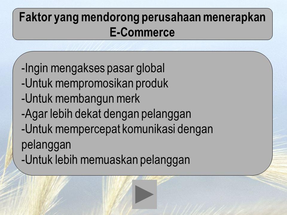 Faktor yang mendorong perusahaan menerapkan E-Commerce