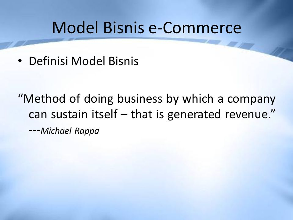 Model Bisnis e-Commerce