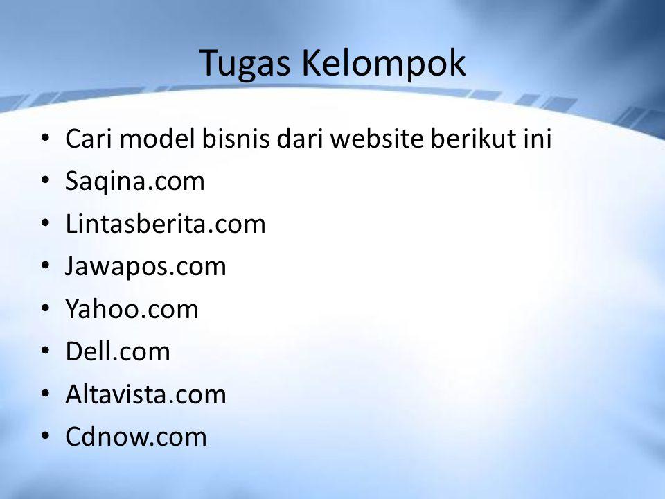 Tugas Kelompok Cari model bisnis dari website berikut ini Saqina.com
