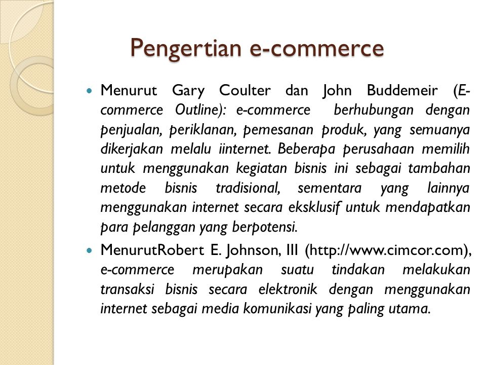Pengertian e-commerce