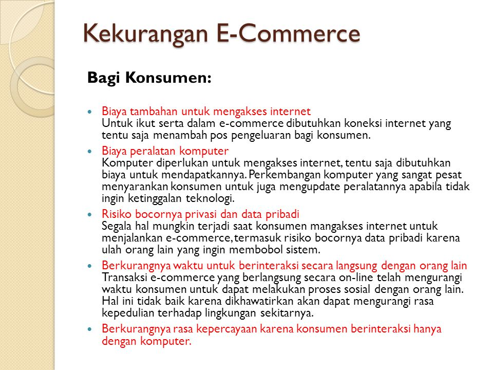 Kekurangan E-Commerce