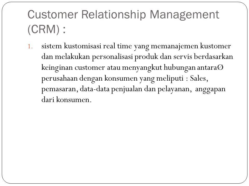 Customer Relationship Management (CRM) :