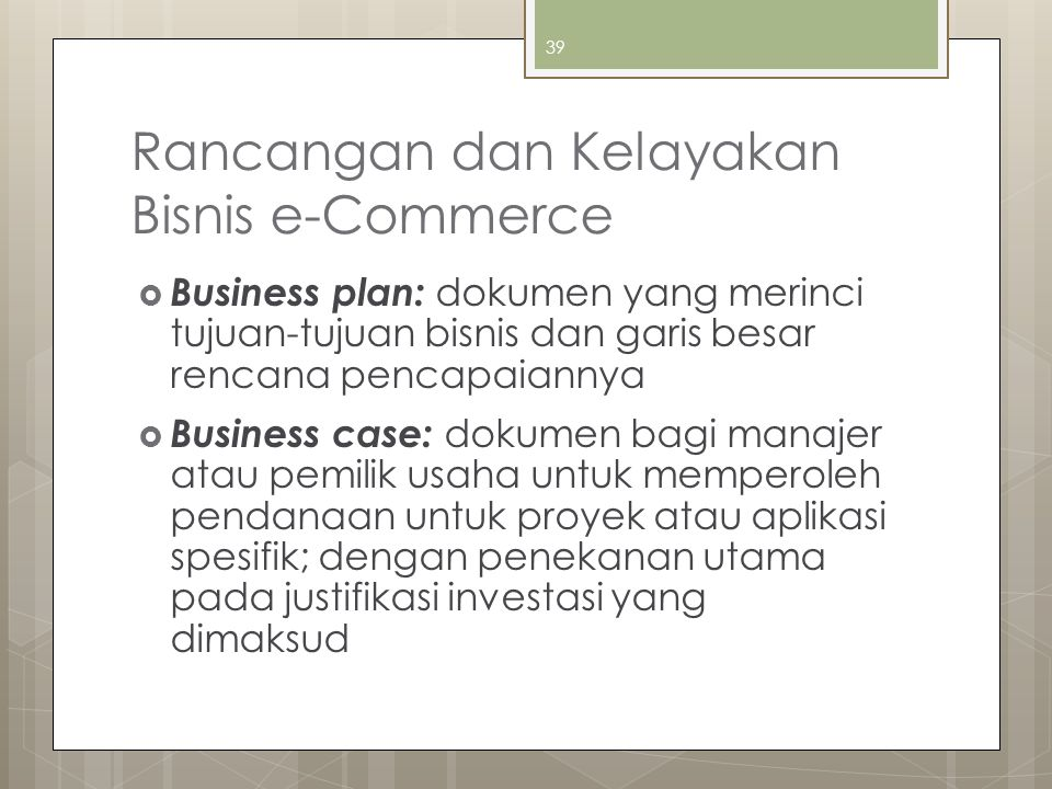 Rancangan dan Kelayakan Bisnis e-Commerce