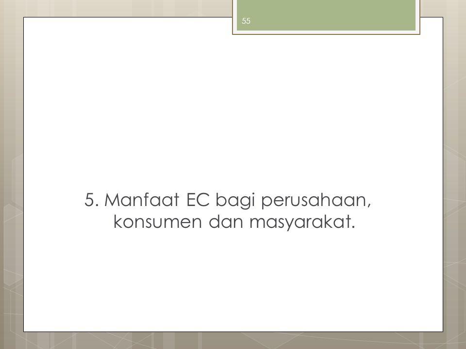 5. Manfaat EC bagi perusahaan, konsumen dan masyarakat.