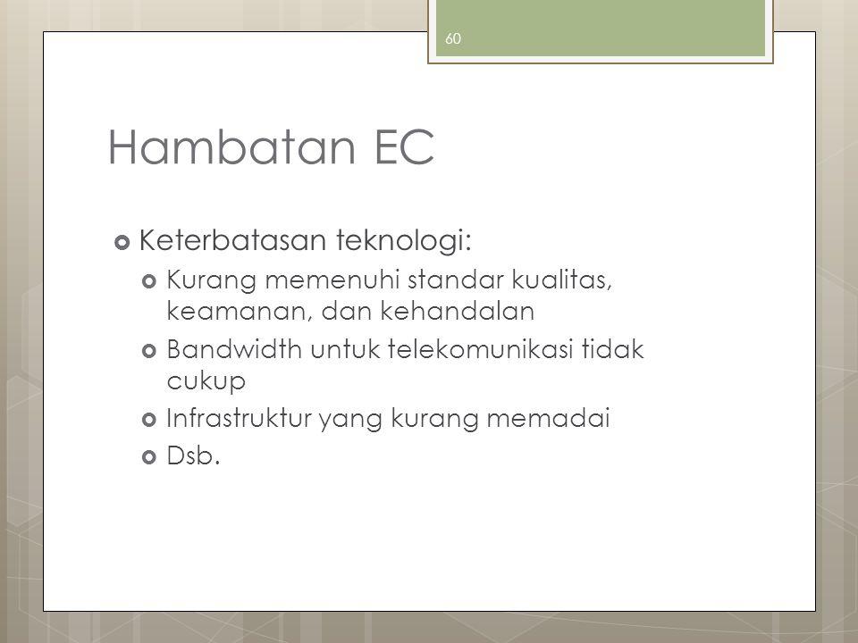 Hambatan EC Keterbatasan teknologi: