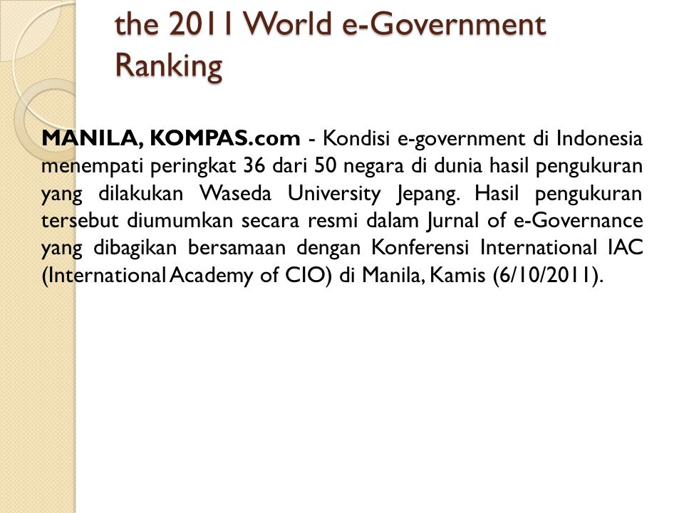 the 2011 World e-Government Ranking