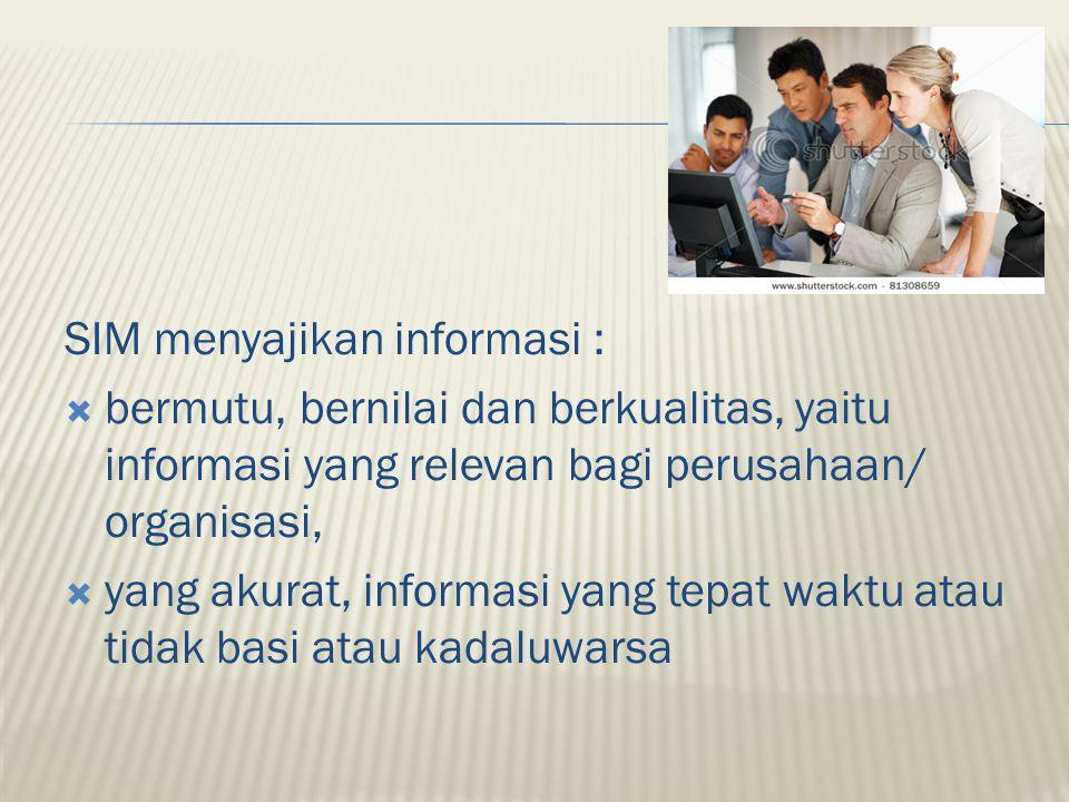 SIM menyajikan informasi :