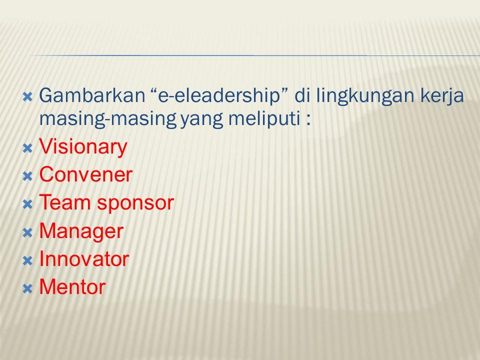 Gambarkan e-eleadership di lingkungan kerja masing-masing yang meliputi :