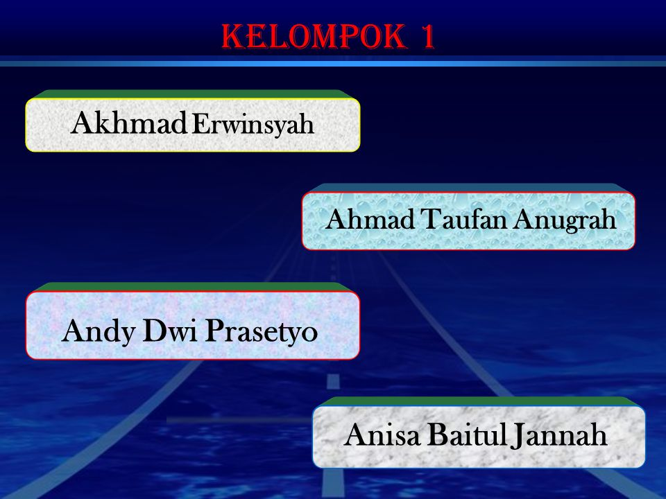 Kelompok 1 Akhmad Erwinsyah Andy Dwi Prasetyo Anisa Baitul Jannah