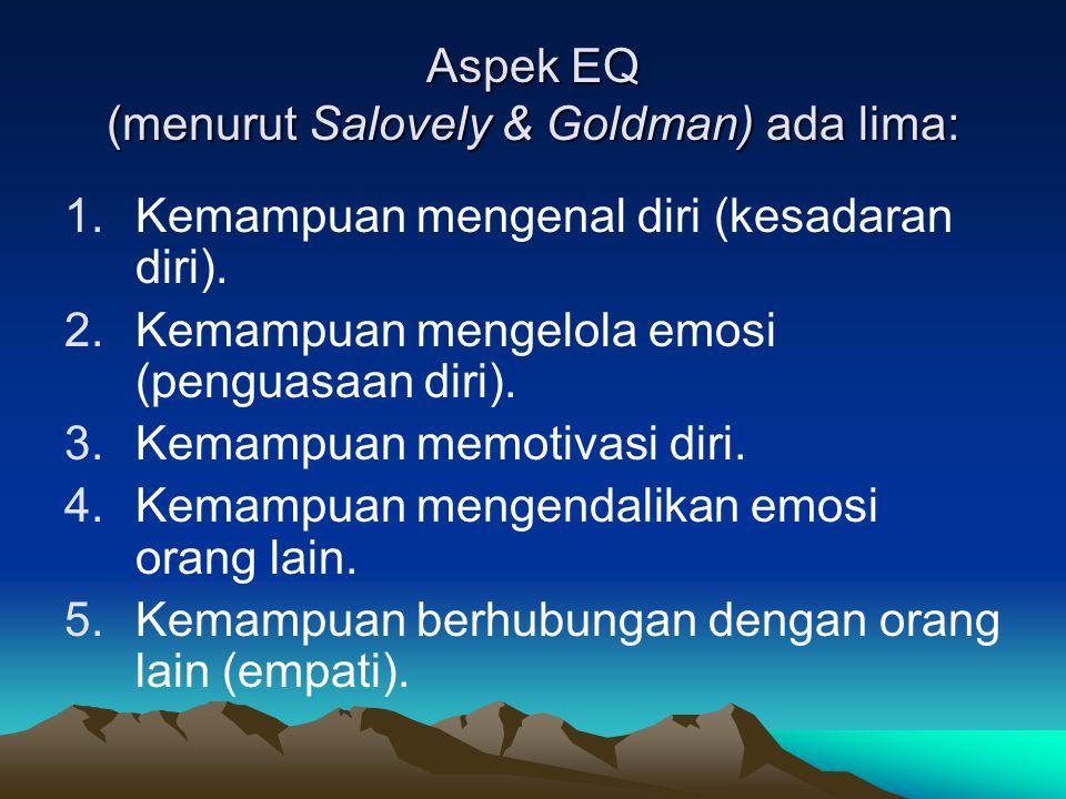 Aspek EQ (menurut Salovely & Goldman) ada lima: