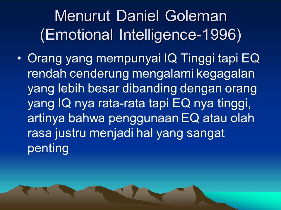 Menurut Daniel Goleman (Emotional Intelligence-1996)
