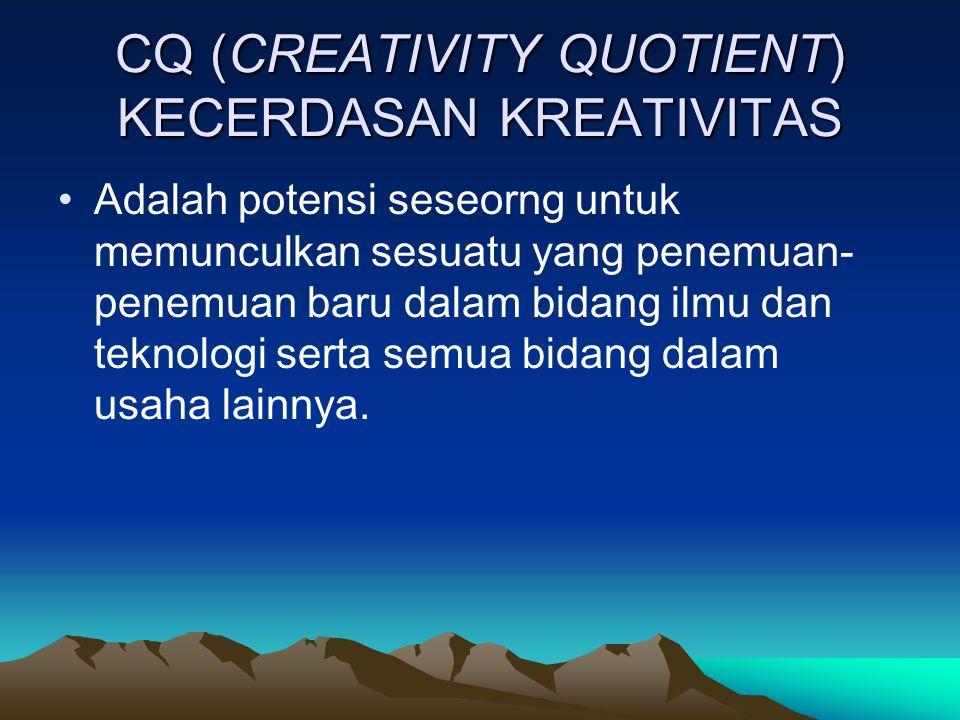 CQ (CREATIVITY QUOTIENT) KECERDASAN KREATIVITAS