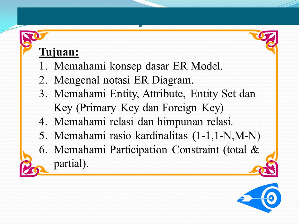 Objectives Tujuan: Memahami konsep dasar ER Model.