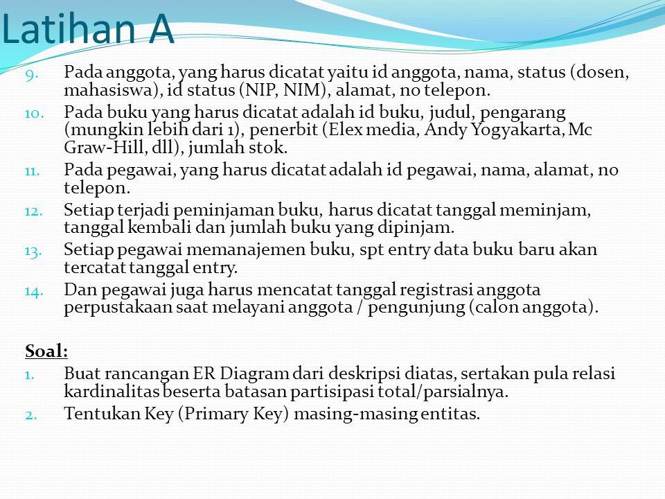 Latihan A Pada anggota, yang harus dicatat yaitu id anggota, nama, status (dosen, mahasiswa), id status (NIP, NIM), alamat, no telepon.