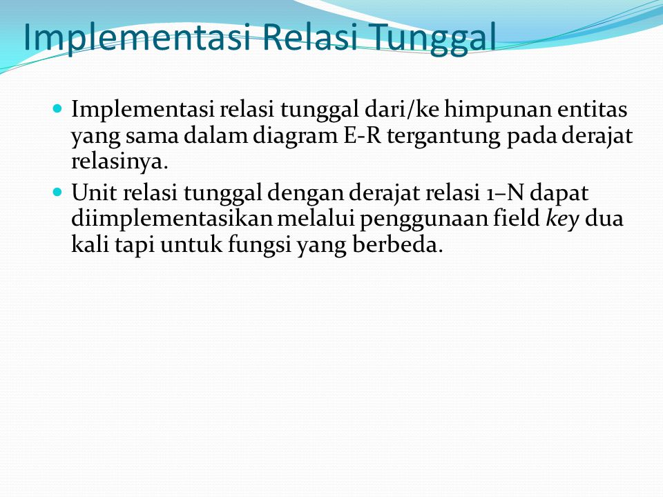 Implementasi Relasi Tunggal