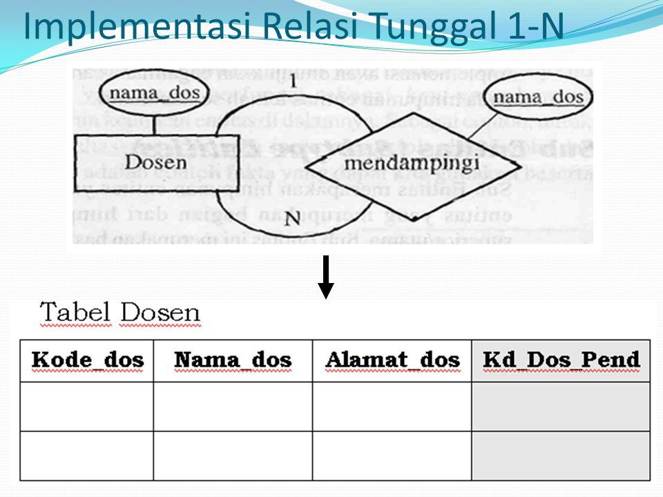 Implementasi Relasi Tunggal 1-N
