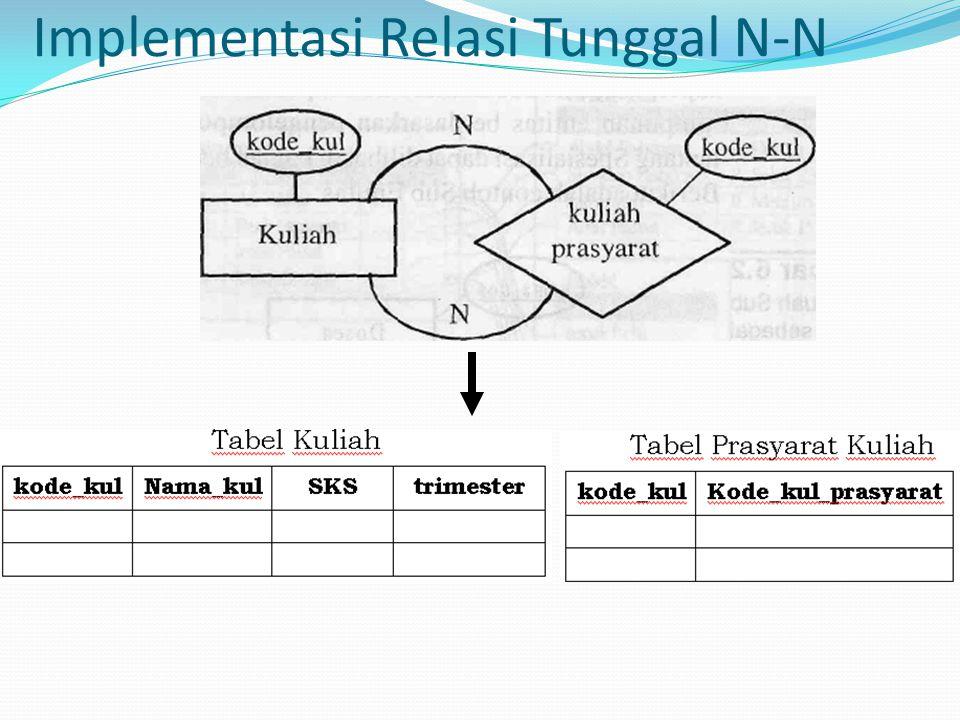 Implementasi Relasi Tunggal N-N