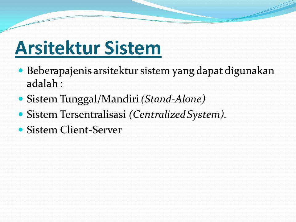 Arsitektur Sistem Beberapajenis arsitektur sistem yang dapat digunakan adalah : Sistem Tunggal/Mandiri (Stand-Alone)